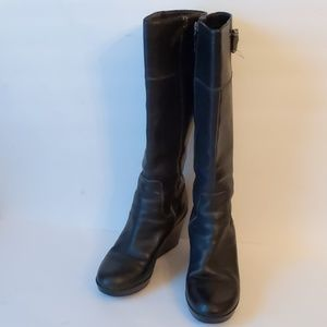 Cole Haan black leather tall boots w wedges-sz 8B